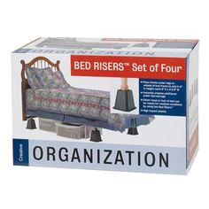 Add storage space to any bedroom by propping up the bed with these Plastic Bed Risers. These bed risers add an additional 5 inches of clearance und. Bed Risers, Cheap Stores, Black Bedding, Train Hard, Pinterest Marketing, Jewellery Display, Storage Spaces, Packing, Organization