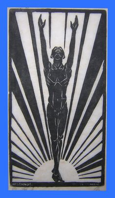 "Jacques Jacob Arend - Opstand Jewish artist who died in the Dutch deportation Kamp Westerbork (scheduled to be murdered in the Polish extermination camps)."" means ""Rise!"" but the word also mean ""Resurrection. Art Deco Font, Art Deco Design, Jewish History, Jewish Art, Art Deco Illustration, Dieselpunk, Woodblock Print, Printmaking, Art Nouveau"