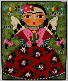 Feliz Navidad Frida ! painting by LuLu by MyPinkTurtleStudio, via Flickr