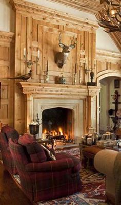 Lodge Style Decorating, love the knotty pine fireplace! Fireplace Hearth, Fireplace Design, Library Fireplace, Country Fireplace, Lodge Style Decorating, Decorating Ideas, Interior Exterior, Interior Design, Home Decor Trends