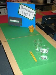Some simple science experiments (on light) that the kids can do by themselves...station style. Very simple, yet the kids are working through the process to help get them ready for science fair season.