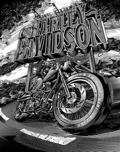 Series of illustrations for Harley Davidson