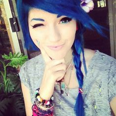 Leda Monster Bunny. Probably the only girl that I think that can pull off Blue hair with blue eyebrows! Gorgeous