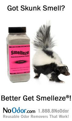 Smelleze® Natural Skunk Smell Remover rids smelly skunk odor without chemicals. It's eco-smart & really works. Safe for people, pets & planet.