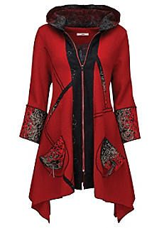Look ravishing in red with this unique oversized coat. We love the squiggle yarn textured fabric that accents the pockets and hood. It's ideal to warm up winter. Approx Length: Our model is: Cami sold separately Hijab Fashion, Boho Fashion, Fashion Outfits, Womens Fashion, Moda Outfits, Oversized Coat, Jackett, Coats For Women, Blazer