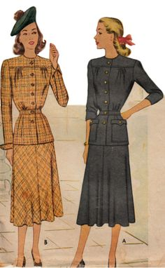 1940s Two-Piece Suit Dress Pattern  McCALL by ShellMakeYouFlip