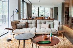 Spanish designer Patricia Urquiola is behind the first new hotel to be built on the shores of Italy's Lake Como in several decades. Patricia Urquiola, Luxury Furniture, Furniture Design, Lake Como, Contemporary Interior Design, Upholstered Furniture, Best Interior, Living Room, Retro