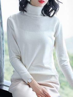 Heap Collar Brief Plain Long Sleeve Knit Pullover – wanokitty pullover outfit jeans athletic pullover with jeans athletic pullover hoodie Jean Outfits, Sweater Outfits, Outfit Jeans, Types Of Collars, Comfortable Outfits, Pullover Sweaters, Going Out, Knitting, Stylish