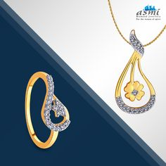 Mix  and match your jewellery, pick this Asmi diamond ring and match it with this pendant to create a dazzling vision.