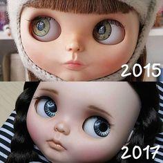 My first and my latest custom girl, what do you think? 💞  ~ ~ ~  Mi primera y más reciente customización, qué te parece? 💞  •  •  •  #Sonydolls #blythedoll #blythe #blytheaday #picoftheday #dollmaker