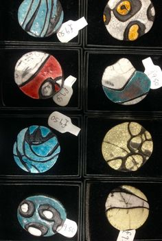 Artisan Brooches by Danielle Pursey, available at the Gower Gallery #raku #jewellery #unique #ceramic #pattern