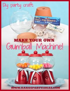Tutorial: Make Your Own Bubble Gum Machine DIY Tutorial: Make Your Own Bubble Gum Machine! - Kara's Party Ideas - The Place for All Things PartyDIY Tutorial: Make Your Own Bubble Gum Machine! - Kara's Party Ideas - The Place for All Things Party Diy Party Crafts, Cute Crafts, Craft Party, Crafts To Do, Crafts For Kids, Make Your Own, Make It Yourself, How To Make, Diy Gumball Machine