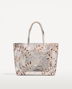 SILVER-TONED LEATHER CUT WORK TOTE BAG  119