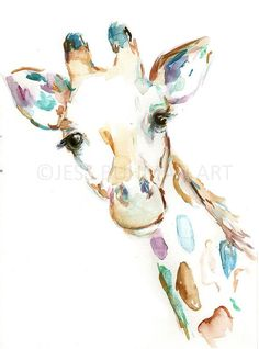 Original Giraffe Watercolor Painting 12 x 18 Original