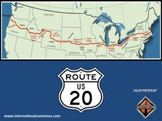 #Navistar Route 20 es la carretera más larga de los Estados Unidos. Va del este al oeste de dicho país, desde Newport, Oregon a tan sólo una milla del Océano Pacifico, hasta Boston, Massachusetts, con un total de 5,415 kilómetros cruzando por los estados de Oregon, Idaho, Montana, Wyoming, Nebraska, Iowa, Illinois, Indiana, Ohio, Pennsylvania, Nueva York y Massachusetts. www.internationalcamiones.com
