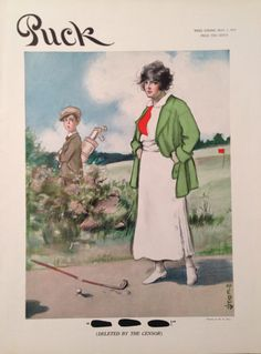 Puck Magazine May 1915 Lady Golfer Cover