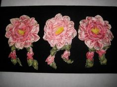 Unused 1930's Large French Ribbon Work Multi-Pink Rose Applique-1 of 3
