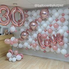 No photo description available. 30th Party, 30th Birthday Parties, Birthday Party Decorations, Party Themes, Balloon Wall, Balloon Garland, Balloon Decorations, Baby Shower Balloons, Birthday Balloons
