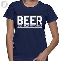 WOMENS Beer Brew Enjoj Empty Repeat T-shirt (XL, NAVY BLUE) - Eat sleep repeat t shirts (*Amazon Partner-Link)