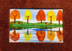 AngelNik Designs & Art Project Ideas: Fall Trees Reflected In A Pond Ste. AngelNik Designs & Art Project Ideas: Fall Trees Reflected In A Pond Ste. Landscape Drawing For Kids, Landscape Art Lessons, Fall Landscape, Autumn Painting, Autumn Art, Autumn Trees, Fall Art Projects, School Art Projects, Fall Drawings