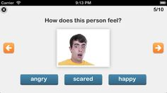 This app focuses on helping individuals identify different facial expressions using real faces and test understanding of emotions.