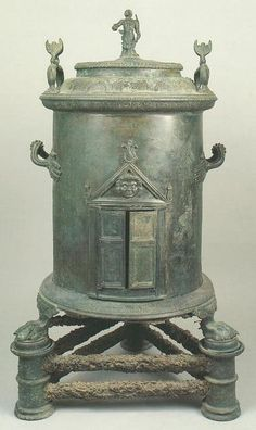 Bronze Imperial Roman cylindrical food warmer from the House of the Four Styles, Pompeii. H 96 cm, Diam 44 cm. Also seen this called a heater. Historical Artifacts, Ancient Artifacts, Ancient Rome, Ancient History, Pompeii And Herculaneum, Pompeii Italy, Rome Antique, Roman Era, Roman History