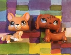 Littlest Pet Shop Swirl Dachshund 640 Tan Brown White Corgi 639 LPS | eBay