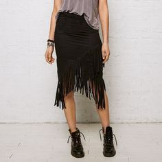 Don't Ask Why Fringe Skirt ($20) ❤ liked on Polyvore featuring black, wrap skirt, american eagle outfitters and fringe skirts