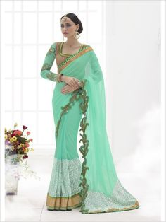 Green Party Wear Georgette/Net Saree