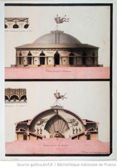 Elévation principale du monument. Intérieur du lieu des Assemblées. :Autor :Lequeu, Jean Jacques (1757-1825?). Dessinateur 1