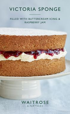 This traditional cake recipe has been perfected to achieve a light and fluffy Victoria sponge. Lightly dusted with icing sugar and filled with sweet buttercream and raspberry jam, it has an elegant finish. Tap for the full Waitrose Partners recipe. Sponge Cake Recipes, British Sponge Cake Recipe, Light Sponge Cake Recipe, Jam Cake Recipe, Victoria Sponge Recipe, Victoria Sponge Cupcakes, Victoria Sandwich Cake, Waitrose Food, Kitchen