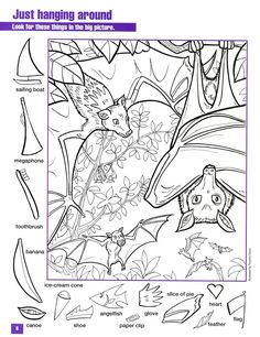prints full page Nocturnal Animals, Fun At Work, Activity Sheets, Printable Coloring Pages, Art For Kids, Hidden Picture Puzzles, Hidden Object Puzzles, Hidden Objects, Hidden Pics