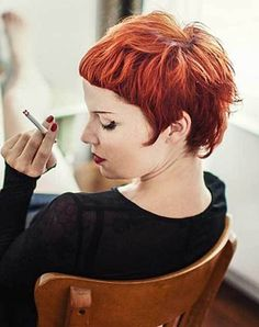 10 Chic and Showy Red Pixie Hairstyles: #7. Red Pixie Haircut with Bangs