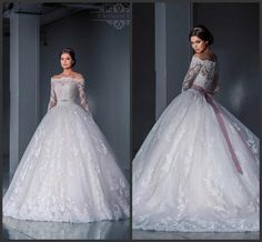Best Selling Lace Bateau Neck Winter Wedding Dresses 2016 Sheer Applique Illusion Beads Sash Chapel Train Vintage Bridal Ball Gowns A-Line Online with $138.85/Piece on Hjklp88's Store