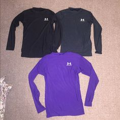 3 Under Armour Long Sleeve Shirts 3 Under Armour Long Sleeve Women's Shirts. Top 2 are size Medium and bottom shirt is size Large. Under Armour Tops Tees - Long Sleeve