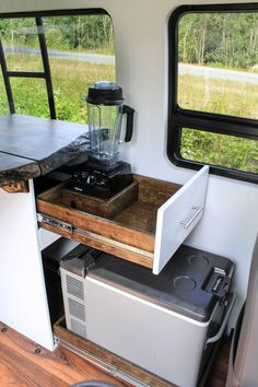 Sunbreak Sunbreak Related Client Wanted An Easy To Access Area For Making Smoothies On The Road In Their Converted Sprinter Van Check Out More On Our Website Freedomvans Co Van Vanlife Kitchen Kitchenette Interiors Interiordesign Tinyhouse Tinyliving Van Conversion Kitchen, Van Conversion Interior, Van Conversion Accessories, Sprinter Van Conversion, Camper Conversion, How To Make Smoothies, Making Smoothies, Camper Van Kitchen, School Bus House