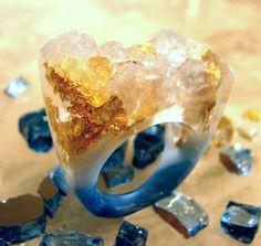 OceanGold Agate Druzy Resin Ring