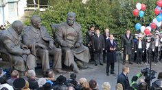 "Monument to leaders of the ""Big Three"" - #Churchill, #Roosevelt and #Stalin - created by Zurab Tsereteli, opened in #Yalta in honor of the 70th anniversary of the Crimea Conference the Anti-#Hitler Allies. #Crimea #USSR #WWII #GreatPatrioticWar 2015 Opening"