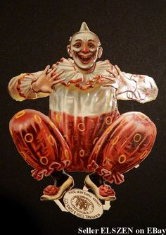 Antique Raphael Tuck Clown Victorian Scrap/Die cut.