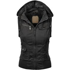 MBJ Womens Faux Leather Moto Vest (£15) ❤ liked on Polyvore featuring outerwear, vests, faux leather vest, vest waistcoat and fake leather vest
