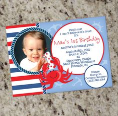 Crab Themed Birthday Invitation Printable Design by Whirlibird