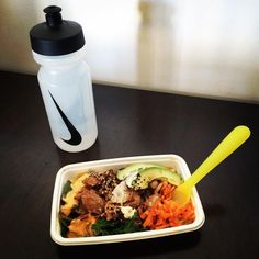 Lunch. Chicken teriyaki salad & water  #lunch #chicken #salad #healthy #chickenteriyaki #avocado #eatclean #cleaneating #food #instafood #fitfam #fitness #healthyeating #nike