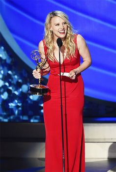 Kate McKinnon accepts Outstanding Supporting Actress in a Comedy Series for SNL during the 68th Annual Primetime Emmy Awards