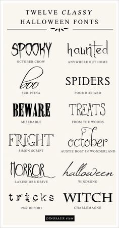 12 Free Halloween Fonts No Tricks All Treats - Fonts - Ideas of Fonts - Haunted. All of these words describe our favorite free halloween fonts. Enter at your own risk! Halloween Tags, Halloween Fonts, Halloween Quotes, Halloween Projects, Holidays Halloween, Free Halloween Printables, Halloween Letters, Party Printables, Halloween Tricks