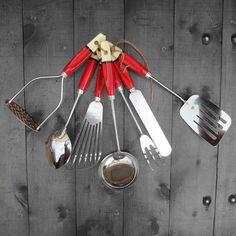 Kitchen Utensils Vintage 1960s Red Cream by MagpiesVintageShop