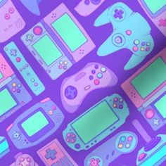 Video Game Controllers in Cool Colors 2 - Spoonflower #PhonicsGamesOnline Star Citizen, Video Game Organization, Organization Ideas, Phonics Games Online, Purple Games, Video Game Quotes, Classic Video Games, App Covers, Gaming Tips