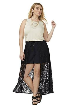 Prime Day Deal - Lane Bryant Women's Short with Lace Overlay 14/16 Black ...