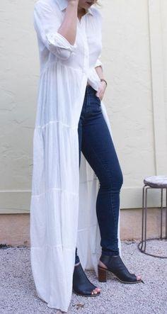 White Long Sleeve Split Maxi Dress