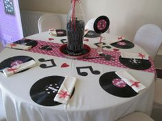 Music Theme Sock Hop Decorations, 50s Party Decorations, 50s Theme Parties, 90th Birthday Parties, Anniversary Parties, Grease Party, Sock Hop Party, Rock Star Party, Disco Party