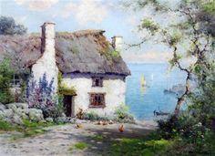The Harbour Cottage by - Alfred Fontville de Breanski Jr  - Oil on Canvas